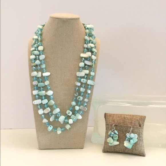 e5ae4c322b48c Mother of Pearl Necklace / Earring Set Blue Glass